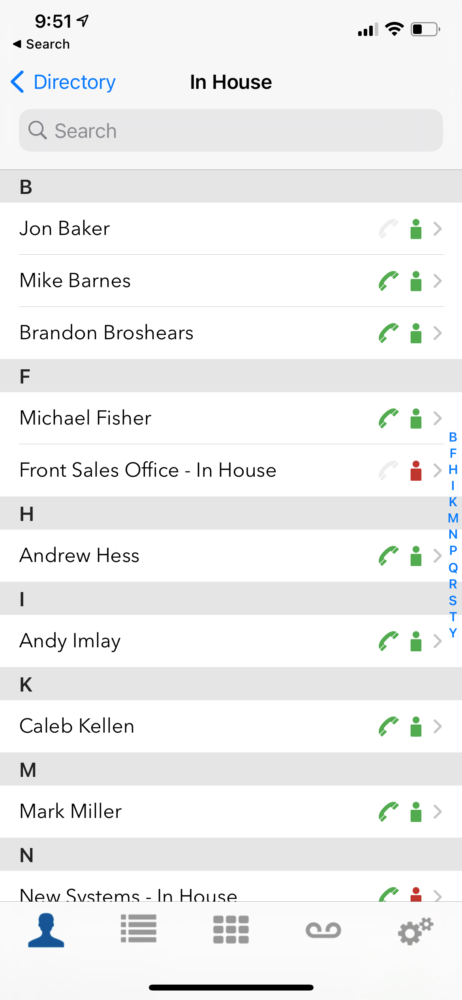 Star2Star Mobile App - Contact List
